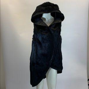 Helmut Lang Asymmetrical Black Fur Hooded Vest